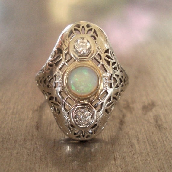 Diamond and Opal Edwardian Engagement Ring - FREE SHIPPING
