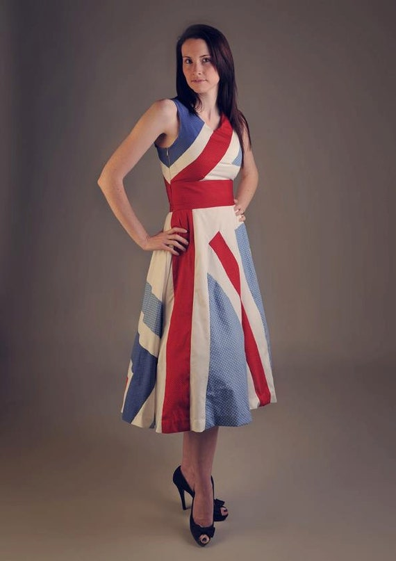 SALE. Red, white & blue. St George's day, Wedding, Races England ,Union Jack, patriot, royal baby 1950's vintage party dress for ALL SIZES.