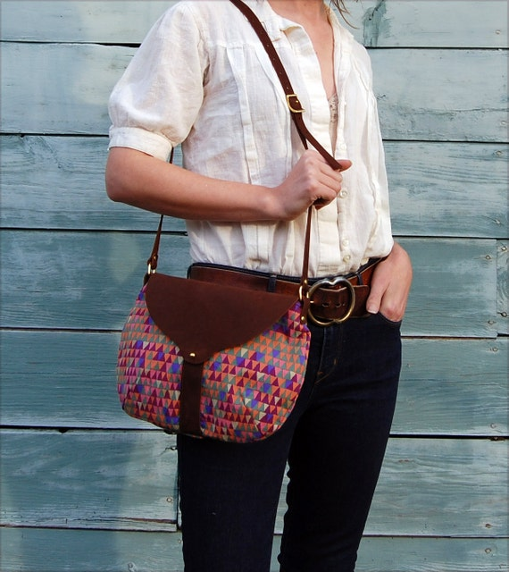 The Taplin Purse // Bright Geometric Print and Duck Cloth with Soft Chocolate Brown Leather Closure and Strap