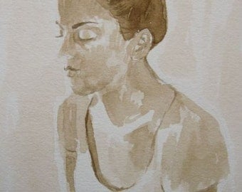 "INK DRAWING, study of a young woman titled : ""Luminescence""""- Original Ink drawing. 4.5 x 6.5 inches."