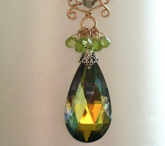 Crystal and Peridot pendant necklace, gold green crystal large tear drop, Peridot and Citrine, Gold Fill Sterling Silver wirework jewelry