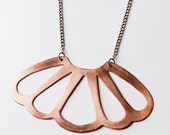 Large Copper Shell Necklace, on Copper Chain