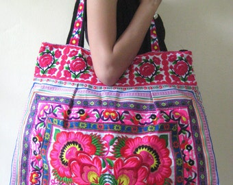 Ethnic Hobo Boho Asian Embroidered Thai Tote Shoulder Shoppers Hmong HandBag