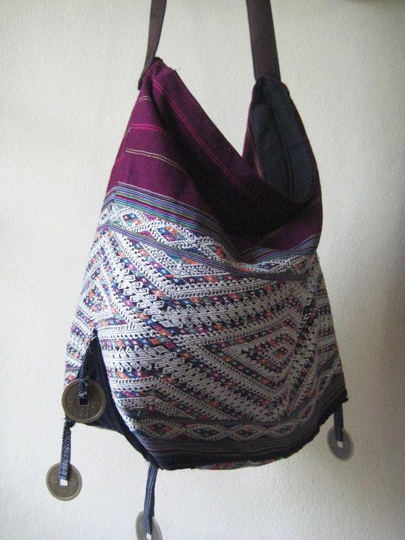 Northern Laos Silk and Cotton Heavily Embroidered Messenger Sling Fisherman Bag