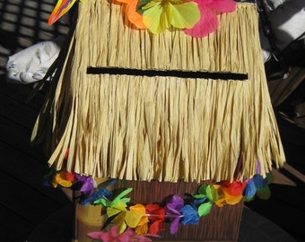 Tiki Hut Card Box Luau Graduation Party Beach Wedding Birthday