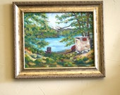 Oil Painting Lake Cabin New England woods - Landscape Painting - Cottage Camp - Impressionist Rustic Painting - fine art home decor wall art