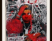 "DRAKE by MoPS - ABSTRACT CELEBRITY 8x10"" Print - Urban/Graffiti/Abstract Art"