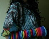 Elvin Arm Warmers - Large - Rainbow - EXTRA LONG Fingerless Gloves - Hand Made in London