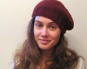 Slouchy Beret Hat - French Beret - Baby Alpaca - Burgundy Wine - One of a Kind