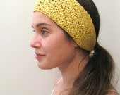 The Wide Lace Headband / Hair Wrap - Cotton/Merino - Sunshine Yellow