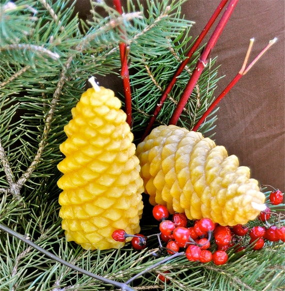 Pinecone Beeswax Candles, Set of 2: Perfect for Thanksgiving, Christmas, Winter or Fall Celebration