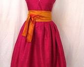 Raspberry V-neck Retro-style Shantung Dress