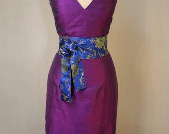 Purple Fitted V-neck Shantung Dress-Custom Made-to-Order