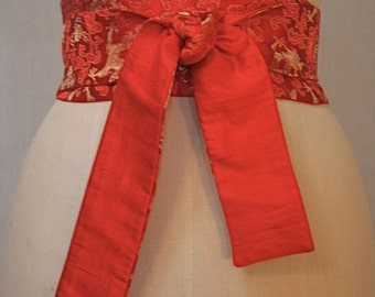 Red Dragon Brocade Obi Sash