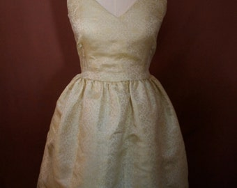 SALE! Ivory and Gold Sari V-neck Retro Dress, Size Small