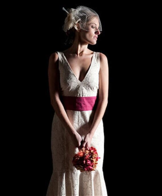 Eggshell Eyelet Tea-Length Wedding Dress