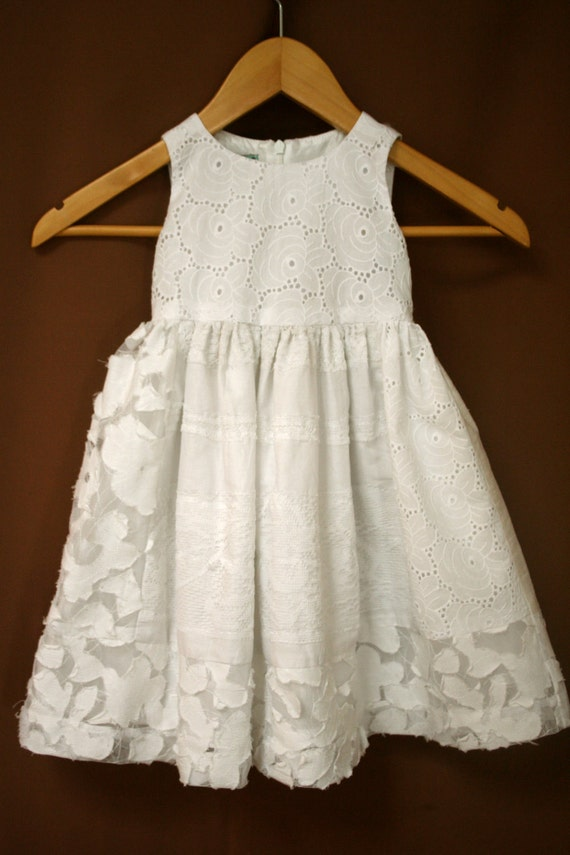 Custom Order  for Carly - White Eco Patchwork Cotton Flower Girl Dress Size 5T