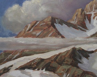 Montana Mission Mountains peak is subject in this oil painting
