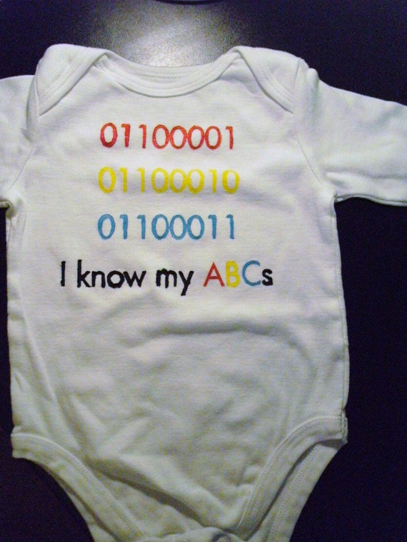 SALE I Know My ABCs binary painted infant toddler tee shirt