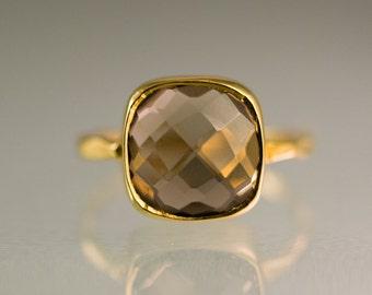 Smokey Quartz Ring Gold - Cushion Ring - Brown Stone Ring - Solitaire Ring - Stacking Ring - Gold Ring - Square Gem Ring - Stack Ring