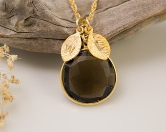 Smokey Quartz Necklace - Personalized Necklace - Customize Initials Necklace - Gemstone Necklace - Gold Necklace