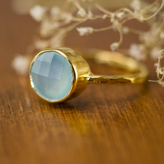 Aqua Blue Chalcedony Ring Gold - Stackable Stone Ring - Solitaire Aqua Ring - Gemstone Ring - Stacking Ring - Gold Ring - Round Ring