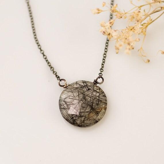 Black Tourmalated Quartz - Tourmaline Quartz necklace - Rutilated Quartz Necklace - Oxidized Silver Necklace - Gemstone necklace