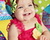 Carnival Couture Collection- Summertime jubilee posies and rosebud baby/toddler headband, photo prop