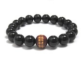 Men Beaded Bracelet Mala Beads Unique Spiritual Yoga Jewelry for Him, Onyx Meditation Mantra Prayer Beads Gifts for Buddhist, Chinese Words