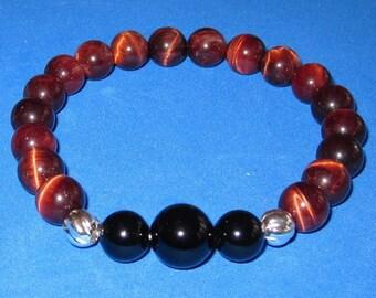 Mala Beaded Bracelet Red Tiger Eye Black Onyx Base Chakra Bracelet Women Men Mala Beads Birthday Boho Jewelry Gift Protection Yoga Gift, BFF