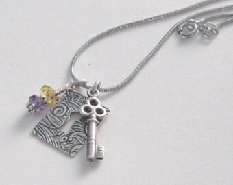 Citrine Amethyst Gemstone Charm Lock Key Pendant Necklace Girlfriend Wife Lover, Partner, Romantic Gift for Her November February Birthstone