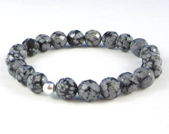 Snowflake Obsidian Women Mens Beaded Bracelet, Couples HIs and Her Balance Positivity Chakra Healing Crystals, BFF Anniversary Birthday Gift