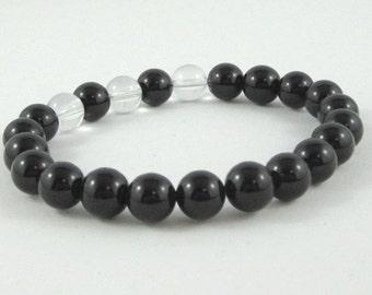 Chakra Bracelet, Quartz Crystal Mala Beads Black Onyx, Yoga Gifts for Couples Teachers Women Men Beaded Bracelet, Worry Beads, Boho Jewelry