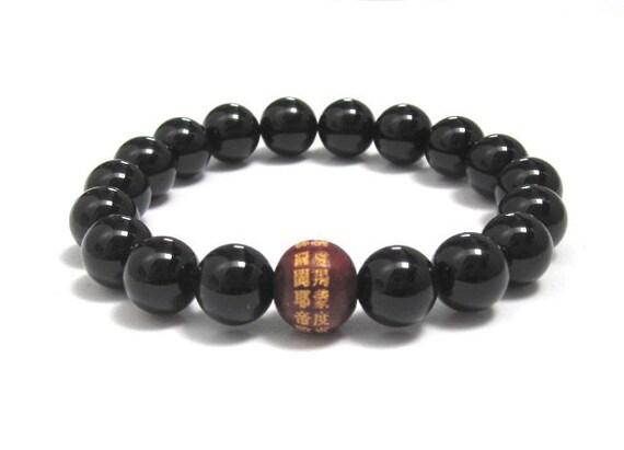 Men Mala Bracelet, Mens Mala beads, Buddhist Mantra Wood Bead Black Onyx Bracelet Worry Beads, Yoga Meditation Buddhist Beads Power Bracelet