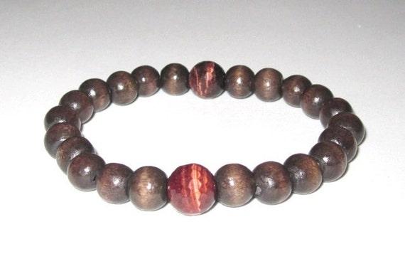 Men Bracelet Wood Beads Worry Beads, Tigers Eyes Chakra Jewelry Buddhist Prayer Wrist Mala Bracelet Yoga Bracelet Grounding Healing Bracelet