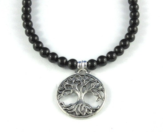 Tree of Life Pendant Necklace Black Onyx Gemstone Sterling Silver Anniversary Birthday Gifts for Mother of the Bride Inspirational Jewelry