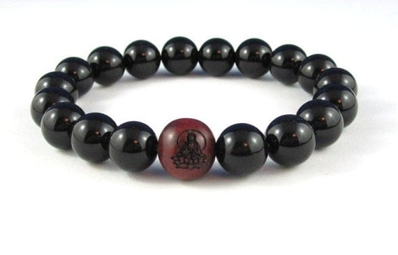 Mens Beaded Bracelet Buddhist Worry Beads Wood Mala Bracelet Onyx Spiritual Inspirational Jewelry Meditation Strength Yoga Jewelry Recovery