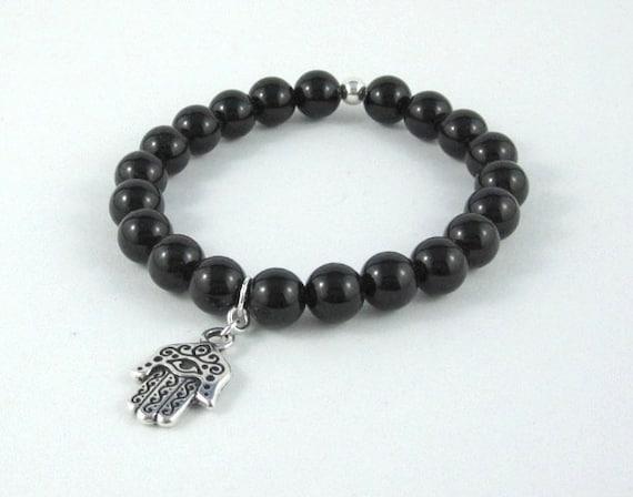 Evil Eye Hamsa Hand Onyx Chakra Bracelet Worry Beads Buddhist Mala Beads Silver Charm Beaded Bracelet Men Women Talisman Jewelry Best Gifts