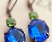 Deep Sapphire Earrings - Estate Style Vintage Glass Monaco Blue Earrings, Peridot Earrings, Swarovski Rhinestone Earrings