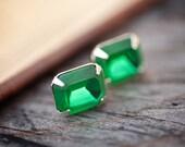 Emerald Green Stud Earrings - Estate Style Vintage Glass Post Fern Green Earrings