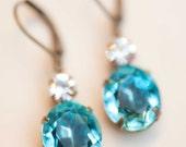 December Birthstone Turquoise Aqua Blue Bridesmaid Earrings Estate Style Powder Blue Vintage Crystal Swarovski Rhinestone Earrings
