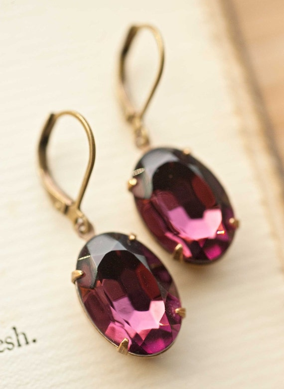 Amethyst Earrings Purple Earrings Holiday Jewlery Gift For Her Gift Idea February Birthstone Purple Wedding - Charlotte