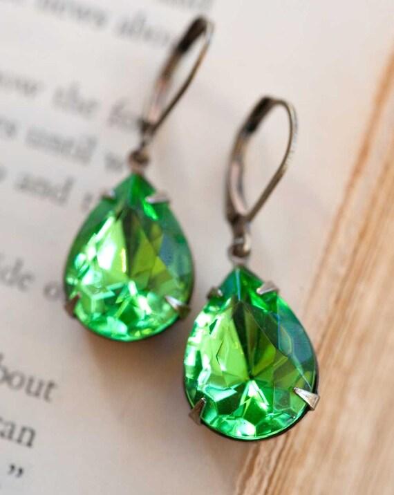 Peridot Earrings, Dangle Earrings, Drop Earrings, August Birthstone, Bridesmaid Earrings, Green Earrings, Vintage Jewelry, Not One Sparrow