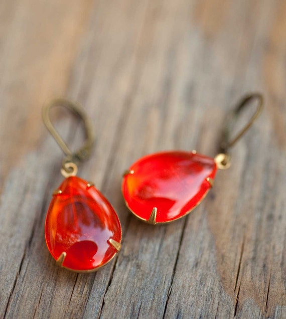 Tangerine Tango Orange Earrings - Persimmon Jewelry - Estate Style Vintage Glass Earrings - Tangerine Dream