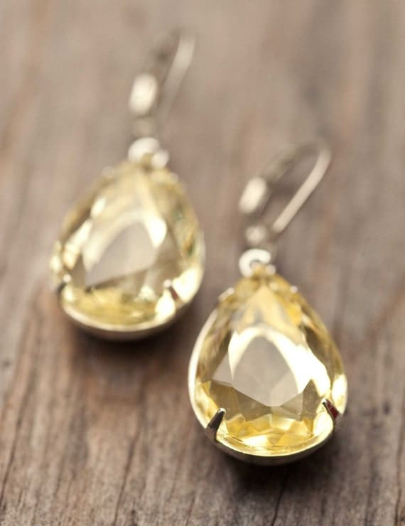 Earrings silver earrings delicate jewelry vintage earrings dangle estate style earrings wedding jewelry bridal earrings citrine - Emma