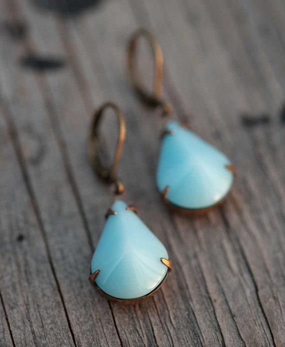 December Birthstone Turquoise Aqua Opaque Glass Teardrop Teal Earrings Something Blue Bridesmaid Bridal Earrings