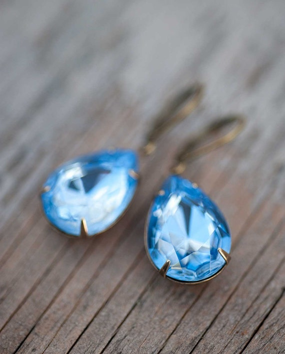 Blue Earrings, Vintage Earrings, Baby Blue, Estate Style, Bridal Party