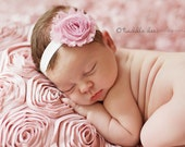 Baby Flower Headband- Light Pink Shabby Frayed Flower on Soft Ivory Elastic Headband