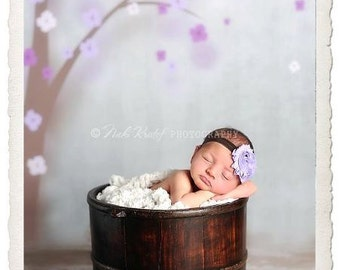 Baby Flower Headband- Shabby Flower Headband- Lavender Shabby Frayed Flower on Soft Brown Elastic Headband
