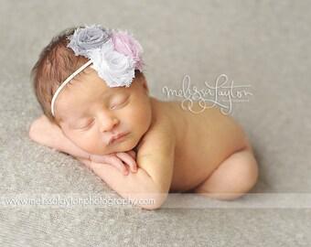 Baby Flower Headband- Baby Headband- Newborn Headband- Light Pink Grey and White Mini Shabby Flowers on Skinny White Elastic Headband